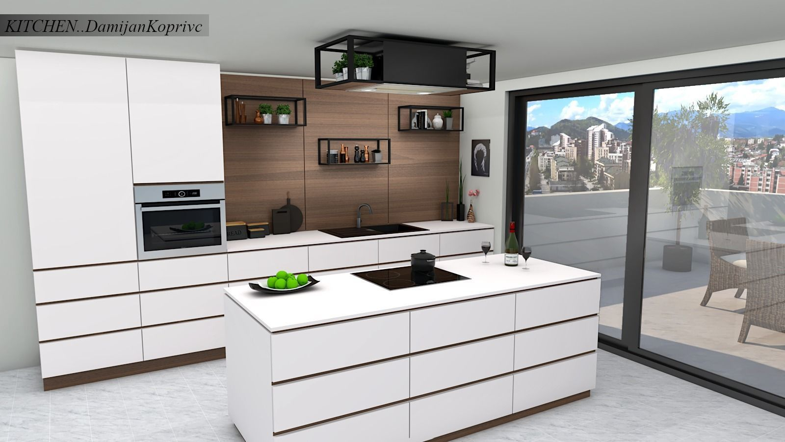 kitchen with island 3d model | 3D model