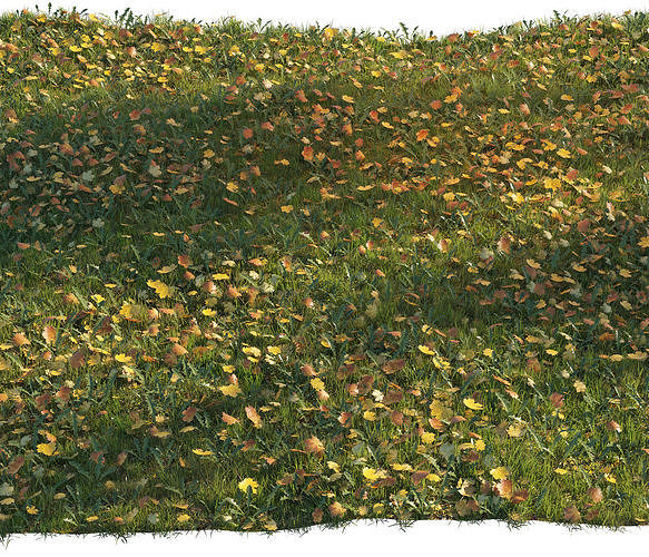 grass with maple leaves 3d model max obj mtl 3ds fbx 1