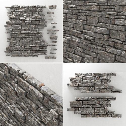 panel decor rock tile 3d model max obj mtl 3ds fbx 1
