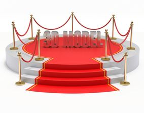 Round stage with red carpet 3D