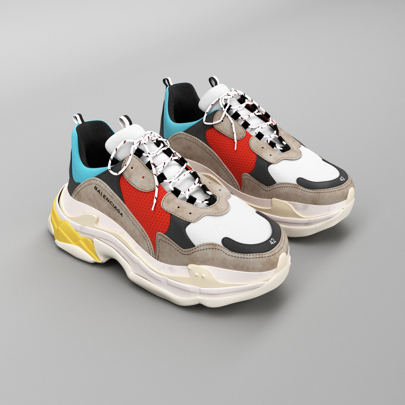 bd2494ca75a0 balenciaga triple s trainers 3D model