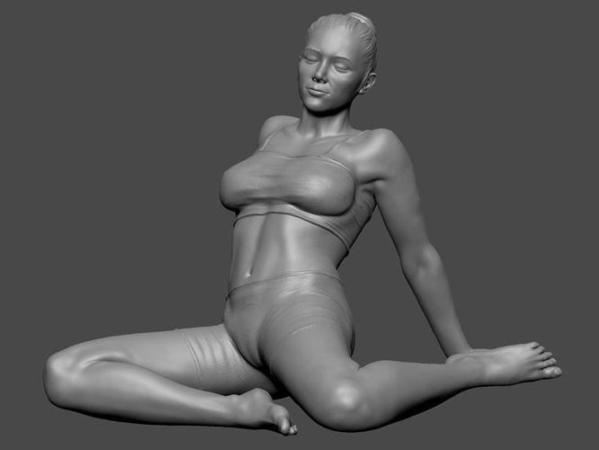 woman lady in pose 3dprint 3d model stl 1