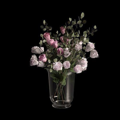 vase with flowers 3d model max obj mtl fbx 1
