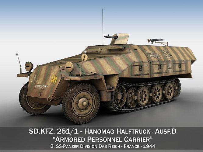 sdkfz 251 ausf d - half-track - 104 3d model obj mtl 3ds fbx c4d lwo lw lws 1