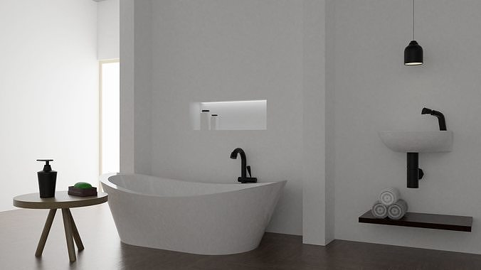 basic bathroom 3d model obj mtl fbx blend dae rfa rvt 1