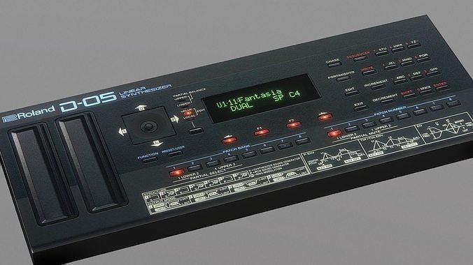 synthesizer roland d-05 3d model low-poly fbx 1