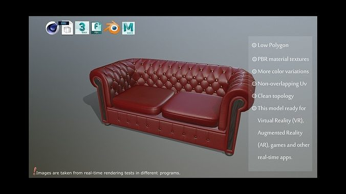 Sofa Modeling In 3ds Max Free Download  chesterfield sofa pbr model 3d model