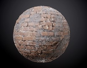 3D Brick Wall Concrete Damaged Seamless PBR Texture