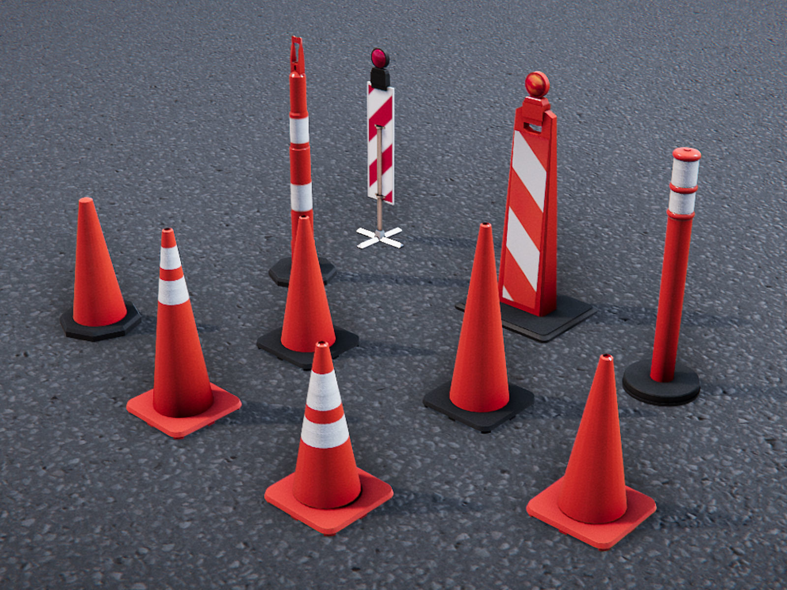 Low Poly PBR Road Traffic Cones