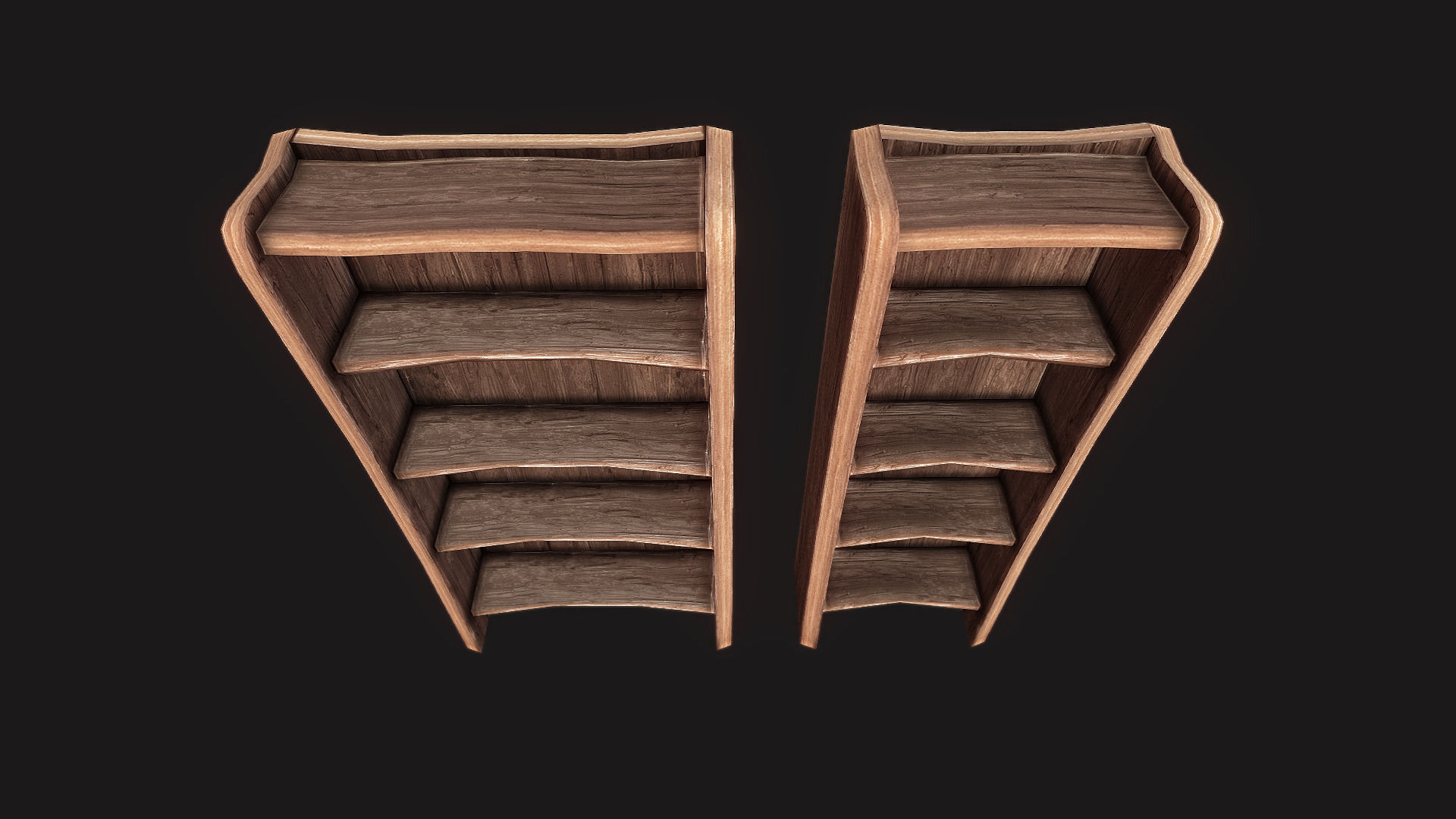 Rustic Wooden Shelf 01 3D Model Game ready .max .obj .3ds .fbx .dae ...