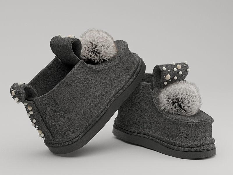 shoes felt boots POM POM