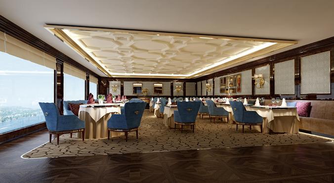 hotel restaurant  3d model max 1