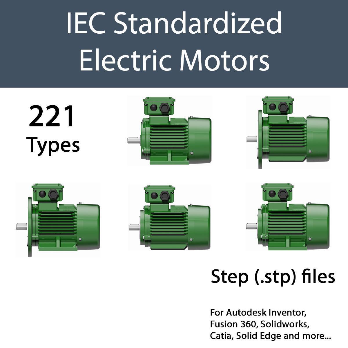 THREE PHASE ELECTRIC MOTORS IEC STANDARD - STEP   3D model