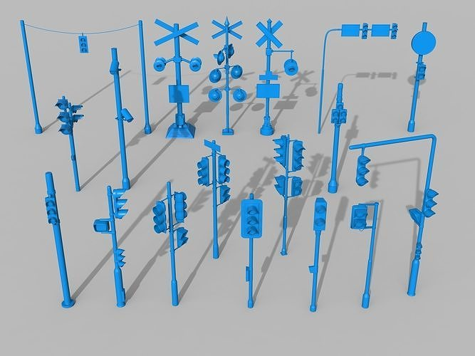traffic lights - 18 pieces 3d model max obj mtl fbx stl 1