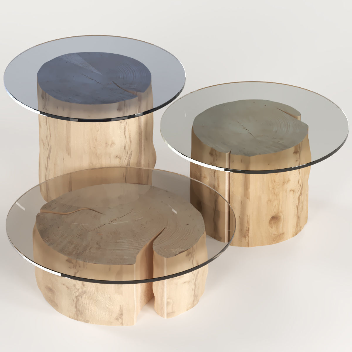 3d 3 Round Coffee Table Stump With Glass Top Cgtrader