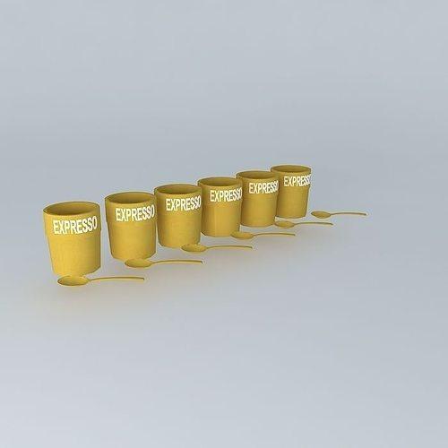 set of 6 cups houses the world 3d model max obj mtl 3ds fbx stl dae 1