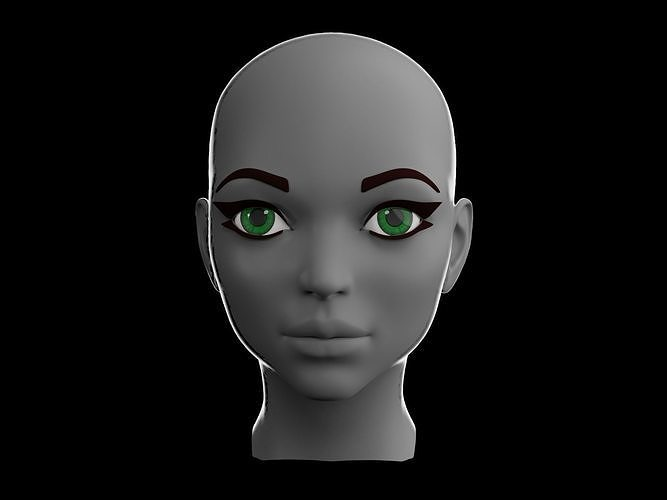 female head v2 3d model obj mtl fbx blend ztl 1