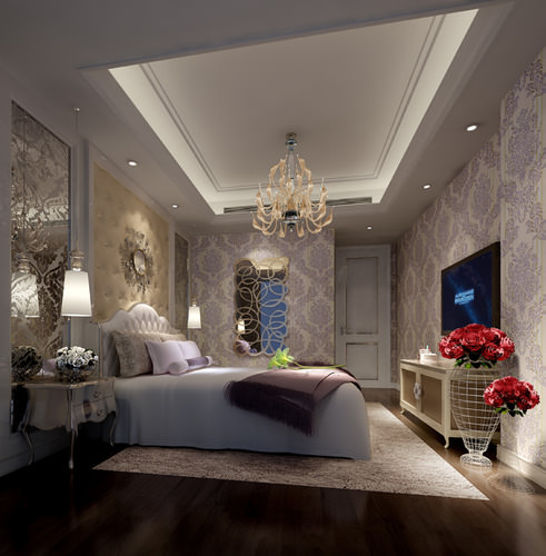 bright luxury bedroom interior 3d model max