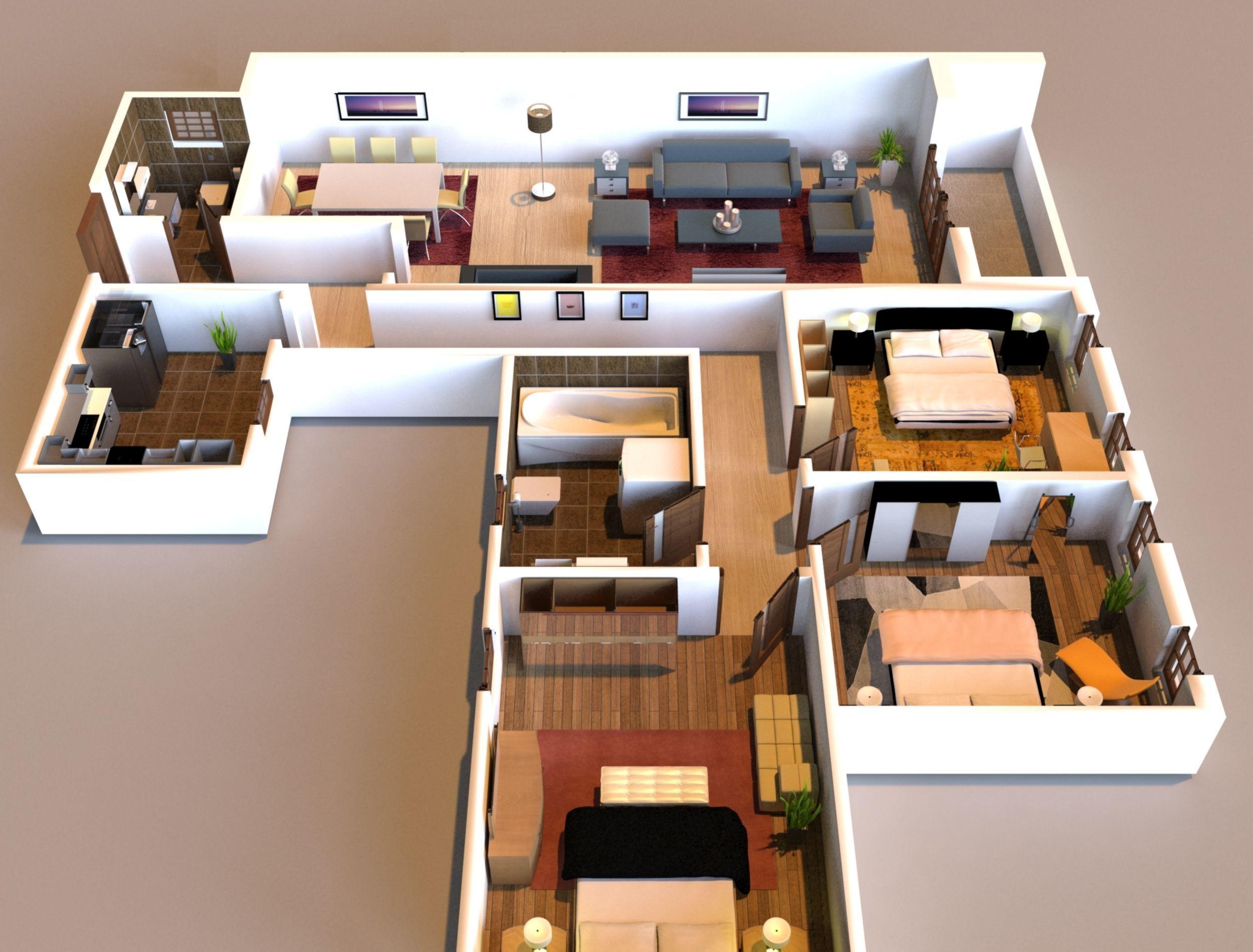 3d Interior Flat Design 3d Model