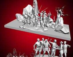the 3dmax model of the long march of the red army forces sculptu