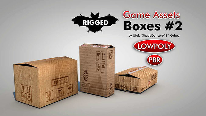 game ready cardboard boxes 3d model low-poly rigged max obj mtl 3ds fbx c4d dae 1