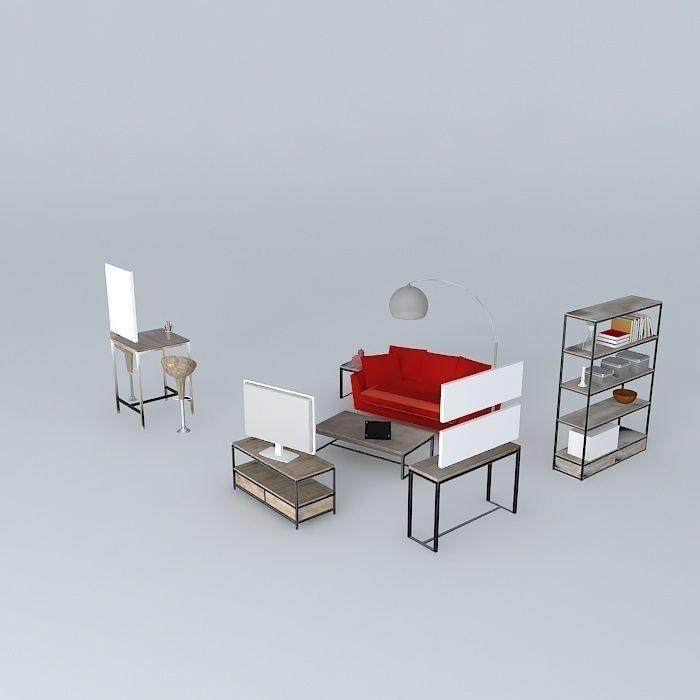 the long island living room maisons du monde 3d model max obj 3ds fbx stl dae. Black Bedroom Furniture Sets. Home Design Ideas