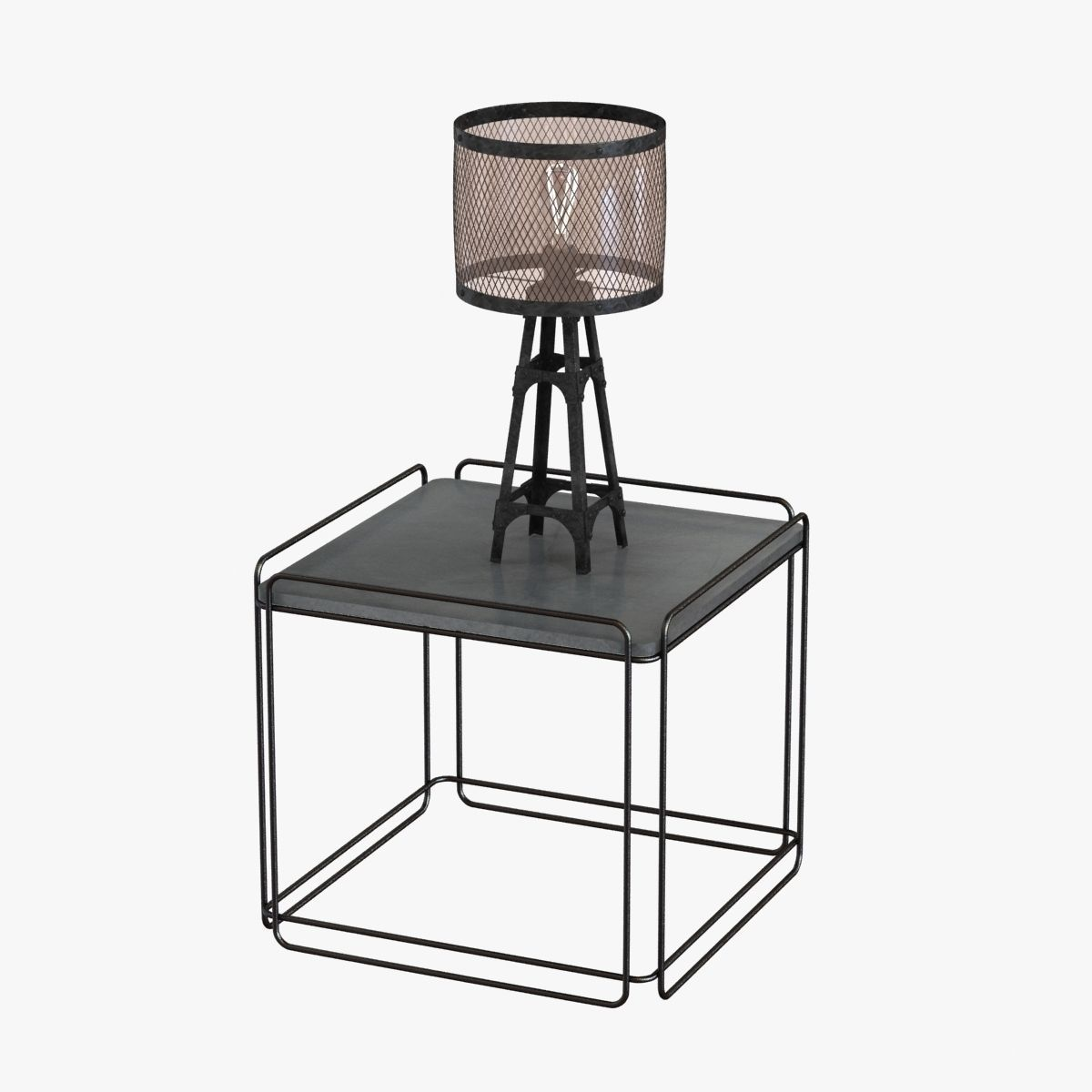 Industrial Table Lamp On Table 3d Model Max Obj 3ds Fbx Mtl 1 ...