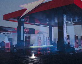 Gas filling station 3D model