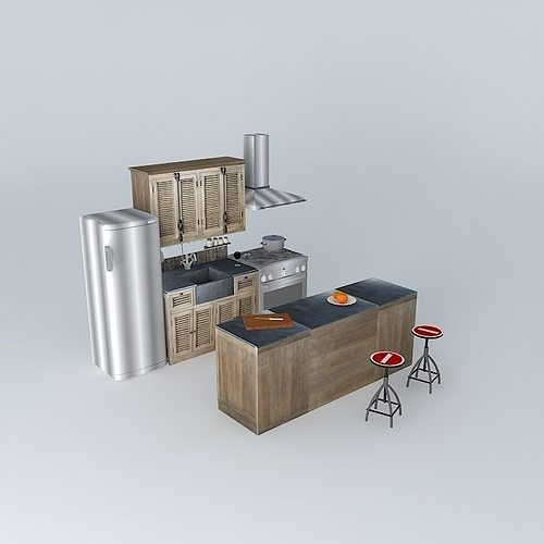 kitchen island louvers world houses 3d model max obj 3ds fbx stl dae 1