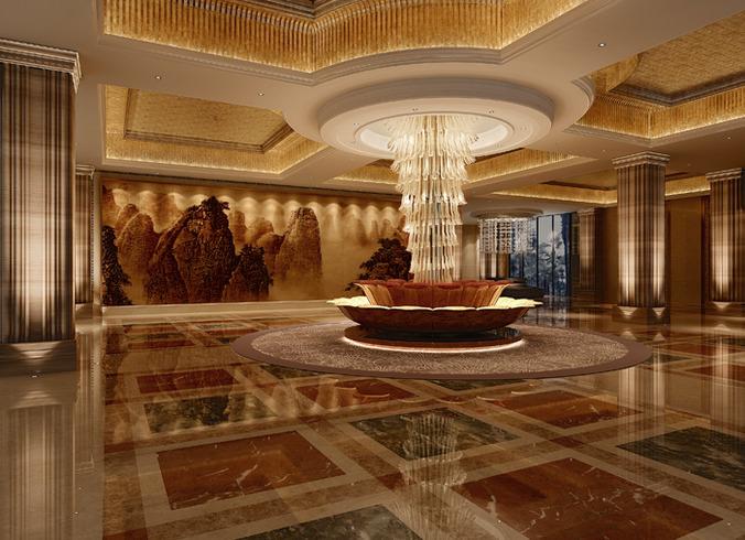 Luxury hotel lobby interior 3d model cgtrader for Luxury hotel interior
