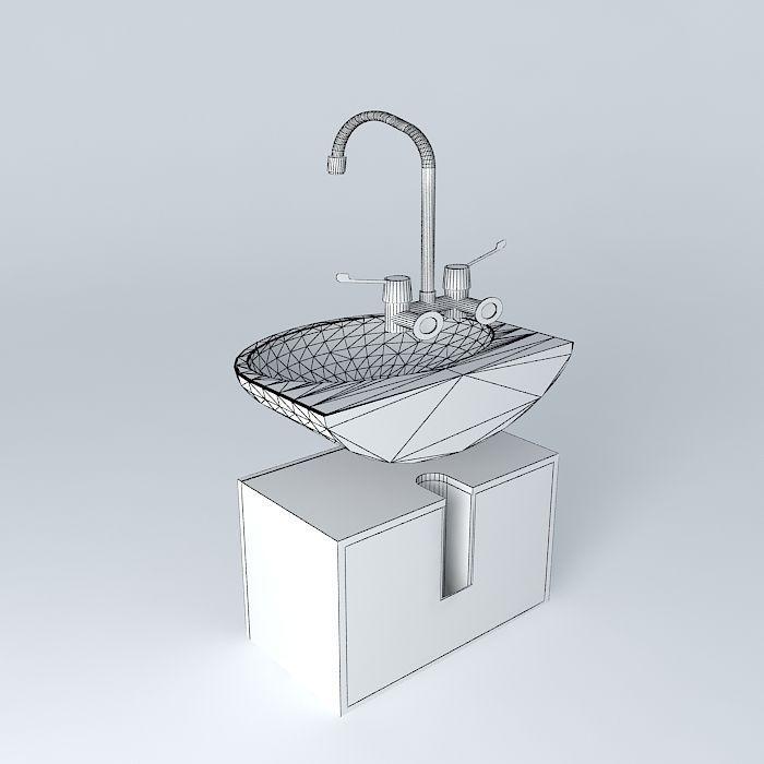 Sink for the bathroom free 3d model max obj 3ds fbx for Sketchup bathroom sink