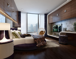 3D Hotel Bed room with plasma tv interior