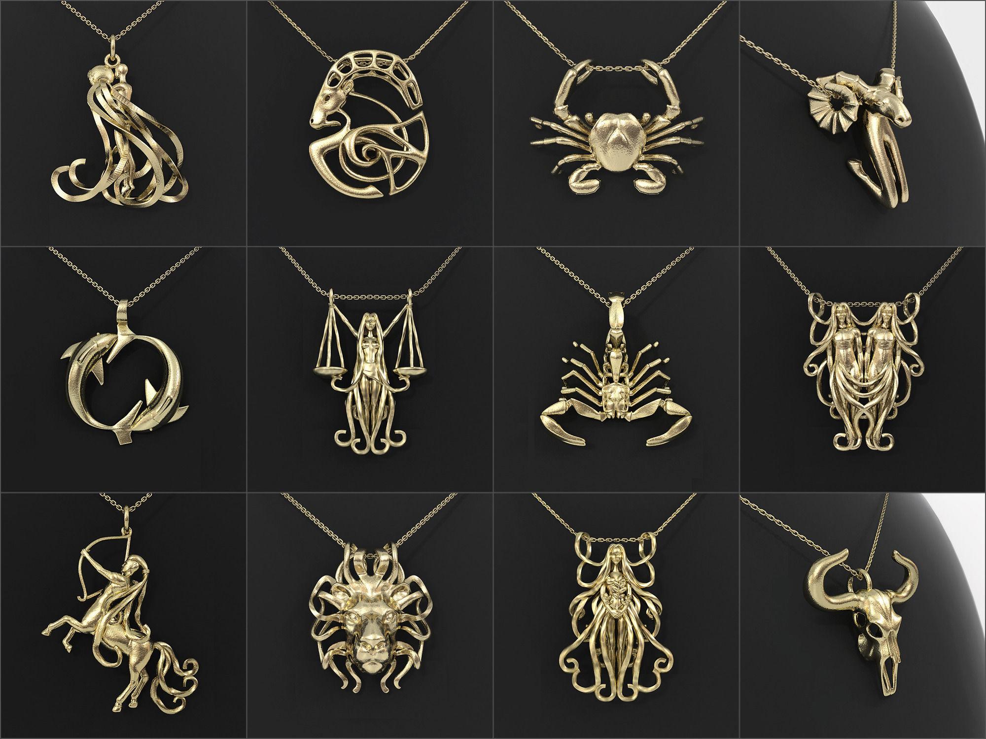 12 Zodiac Pendants Collection