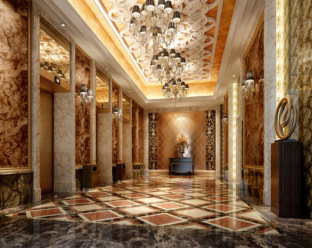 Luxury hotel lobby with elevator 3d model cgtrader for Luxury homes with elevators