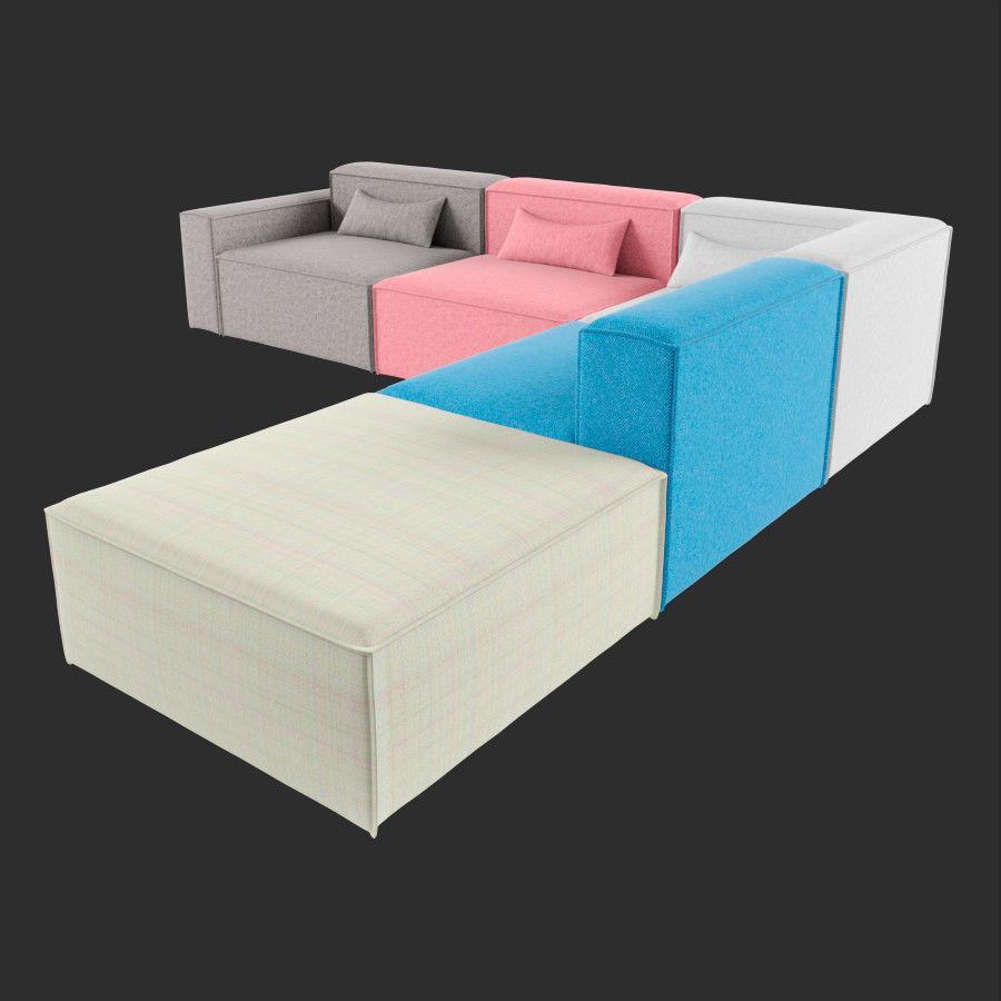 3D Mix Modular 5 Piece Sectional Sofa | CGTrader