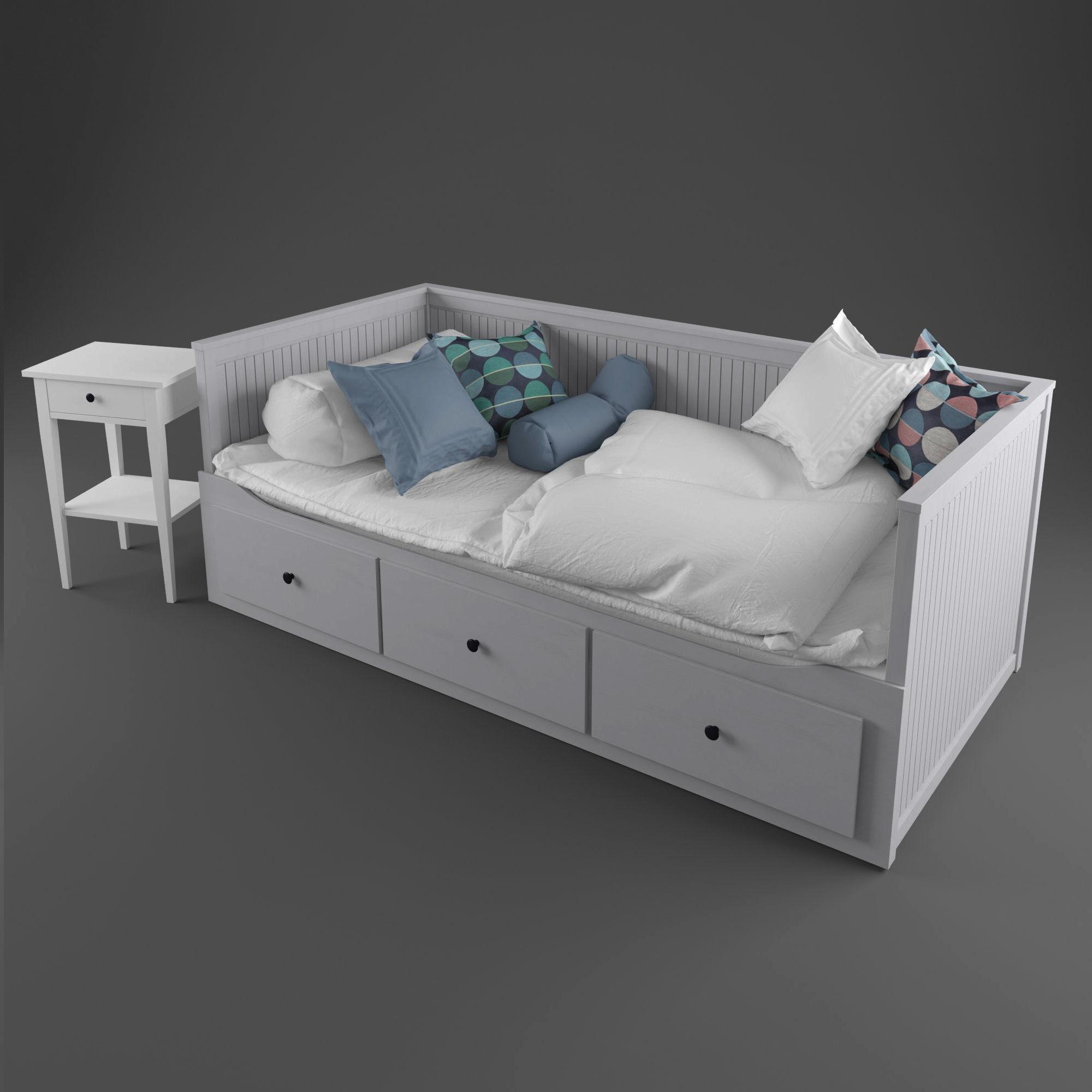 Carpet Ikea Hemnes Bed 2 3d Model Cgtrader