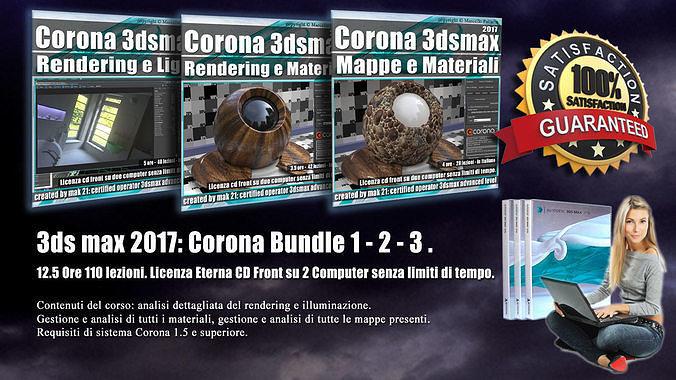 corona in 3dsmax 2017 bundle vol 1 2  3  cd front 3d model pdf 1