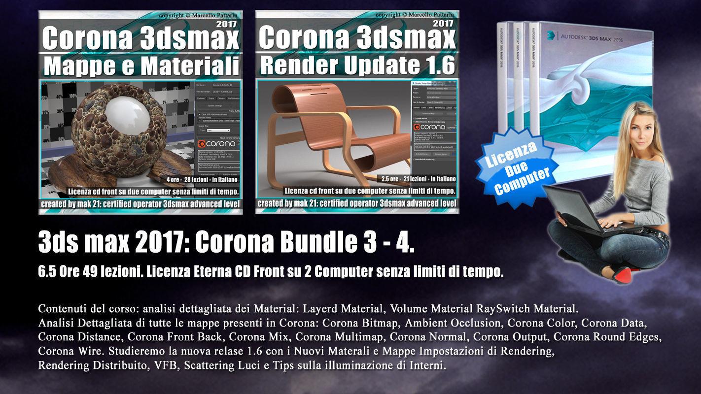 Corona in 3dsmax 2017 Bundle Vol 3 e 4 Cd Front