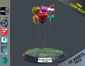 Heart Balloons Valentine Pack 3D model