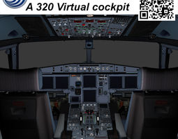VR / AR ready 3d model airbus a-320 virtual cockpit