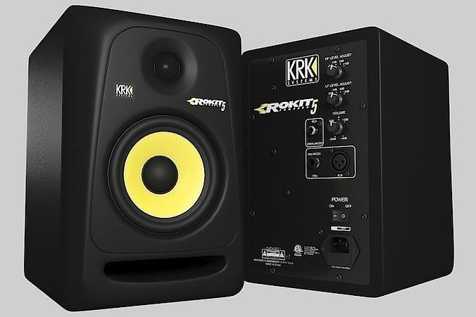 studio monitor krk rokit 5 3d model max obj mtl 3ds fbx 1