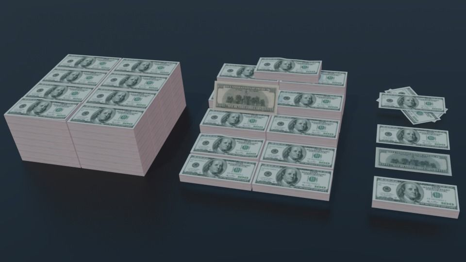 Low Poly 100 USD Money Stack 3 TYPES Rack