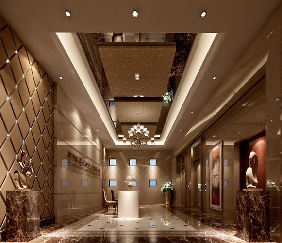 Hotel lobby hall 3d model max cgtrader com
