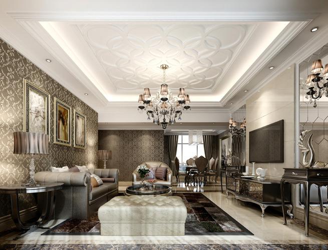 Luxury living room with plasma tv3D model