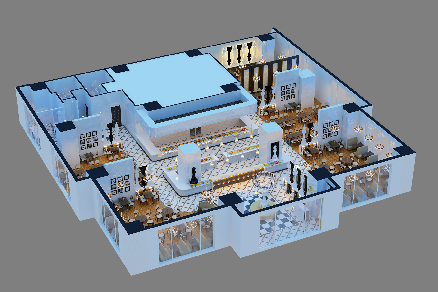 3D Models Chess Restaurant Model max CGTradercom
