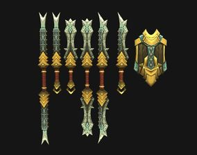 3D model Stylized Handpainted Sword and Shield