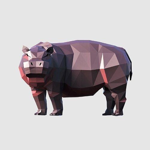 hippo 3d model obj mtl 3ds fbx blend dae 1