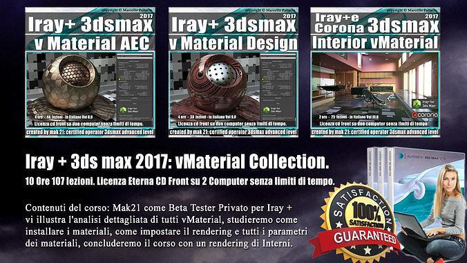 iray piu 3dsmax 2017 vmaterial collection vol 8  9  10 cd front 3d model pdf 1