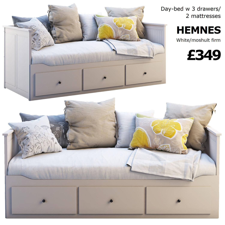 Ikea Hemnes Bedbank.Ikea Hemnes Bed 3 3d Cgtrader