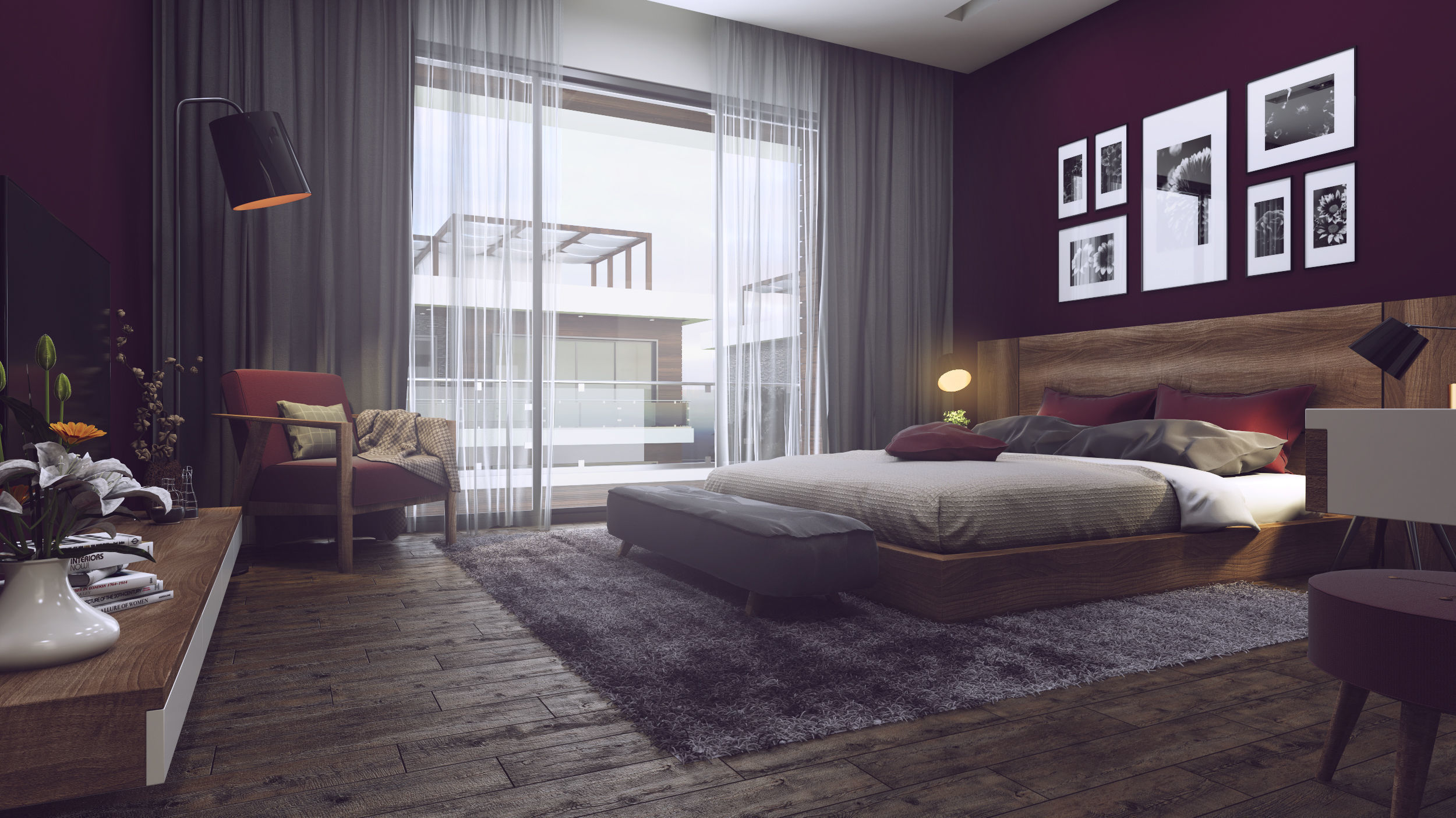 Nice Bedroom 3D Model Vray Settings and PSD File | 3D model